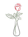 Stylized red rose in a vase Royalty Free Stock Photo