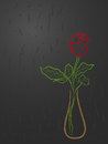 Stylized red rose in a vase over grey abstract dark background hand drawing vector illustration Stock Photos
