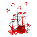 Stylized red ship a on a white background in the style of a russian national traditional northern mezen painting Royalty Free Stock Photo