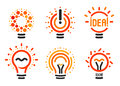 Stylized set of vector lightbulbs with line, dots, beam. New idea symbols collection colorful logotypes. Flat abstract