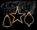 Stylized shining christmas toys on decorative black background illustration Stock Photos