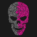 Stylized skull gray and pink in vector Stock Photography