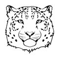 Stylized snow leopard head black illustration Stock Photo