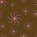 Stylized star anise seamless pattern. Brown background. Abstract texture.