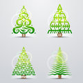 Stylized symbols of christmas tree set original vector trees qualitative vector eps design elements for new years day winter Royalty Free Stock Image
