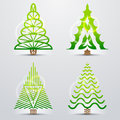 Stylized symbols of christmas tree set original vector trees qualitative vector eps design elements for new years day winter Royalty Free Stock Photography