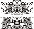 Stylized symmetric vignettes with birds Royalty Free Stock Images