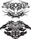 Stylized symmetric vignettes with birds Stock Photos