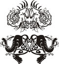 Stylized symmetric vignettes with elephants Royalty Free Stock Images