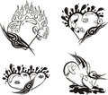 Stylized Tattoos with Hearts Royalty Free Stock Image