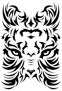 Stylized Tiger face symbol - tattoo - vector Royalty Free Stock Image