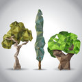 Stylized trees in origami style Stock Photo
