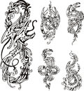 Stylized two headed dragons set of black and white vector illustrations Royalty Free Stock Images