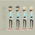Stylized vector cartoon hipster Royalty Free Stock Photo