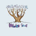 Stylized vector winter tree with the words time below and falling snowflakes Stock Photos