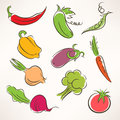 Stylized vegetables set of ten different Royalty Free Stock Photography