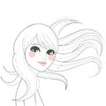 Stylized woman drawing line art of a beautiful with long hair waving with the wind Stock Photos