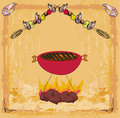Stylized yummy shrimp kabob on the grill illustration Stock Image