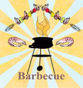 Stylized yummy shrimp kabob on the grill illustration Stock Photo