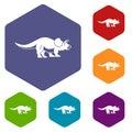 Styracosaurus icons set hexagon