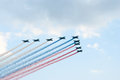 Su-25 attack planes paint Russian flag Stock Image
