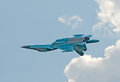 Su-34 fighter-bomber in inverted flight Royalty Free Stock Photo