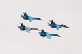Su fighter jets zhukovsky russia august four sukhoi fly in close formation during maks airshow on august in zhukovsky russia Stock Images