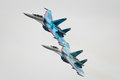 Su fighter jets zhukovsky russia august two sukhoi fly in close formation during maks airshow on august in zhukovsky russia Royalty Free Stock Image