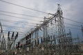 Sub station high voltage for tranfrom electricity Royalty Free Stock Photos
