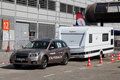 Subaru forester with a caravan dusseldorf september at the salon exhibition on september in dusseldorf germany Stock Image