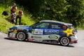 Subaru impreza sti mlada boleslav czech rep july driver stajf v and co driver rajnoha f in at speed stage no during bohemia rally Stock Photo
