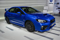 Subaru wrx sti on display during the geneva motor show geneva switzerland march Royalty Free Stock Photography