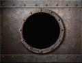 Submarine armoured porthole or window metal Royalty Free Stock Photo