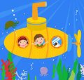 Submarine and kids cute cartoon Stock Image