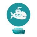Submarine periscope underwater trasnportation pictogram