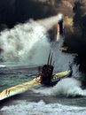 Submarine under storm a world war two on the sea surface a and approaching the coast close to a lighthouse Stock Photo