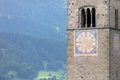 Submerged tower of reschensee church deep in Resias Lake in Trentino-Alto valley Royalty Free Stock Photo