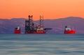 Submerging cargo ship Royalty Free Stock Photo