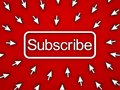 Subscribe button with many computer arrow cursors on red background Royalty Free Stock Photo