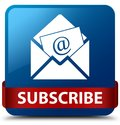 Subscribe (newsletter email icon) blue square button red ribbon Royalty Free Stock Photo