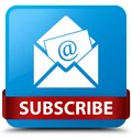 Subscribe (newsletter email icon) cyan blue square button red ri Royalty Free Stock Photo