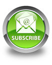 Subscribe (newsletter email icon) glossy green round button Royalty Free Stock Photo