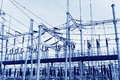Substation partial close up high voltage Royalty Free Stock Photo