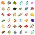 Subtlety icons set, isometric style Royalty Free Stock Photo