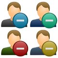 Subtract a user/remove user icon. Four color variations Royalty Free Stock Photo