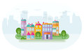 In suburb green district of with colorful houses and skyscraper silhouettes at background flat design style illustration vector Stock Photo