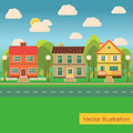 Suburb street with family houses in flat style Royalty Free Stock Photo