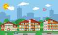Suburban accommodation vector illustration of city suburb Stock Photos