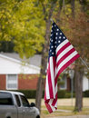Suburban American Flag Stock Images