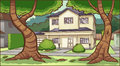 Suburban house with trees